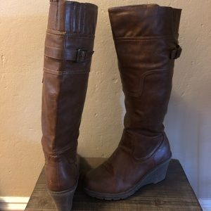 Bucco Camel High Boot with Small Wedge